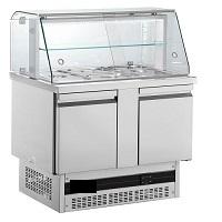 ψυγείο σαλατών με μηχανή από κατω με βιτρίνα
